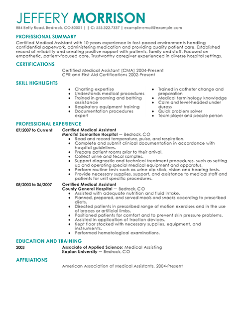 best medical assistant resume example from professional