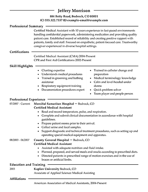 Best Medical Assistant Resume Example From Professional Resume