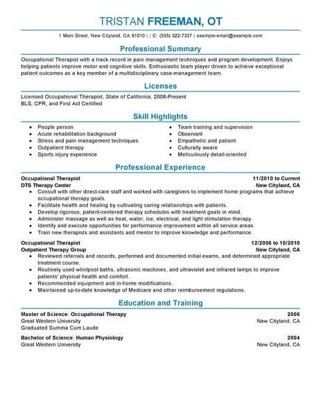 best occupational therapist resume example from