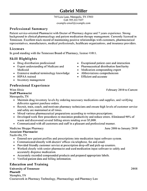 best pharmacist resume example from professional resume writing service