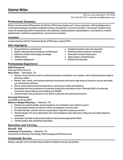 Resume writing services for pharmacists