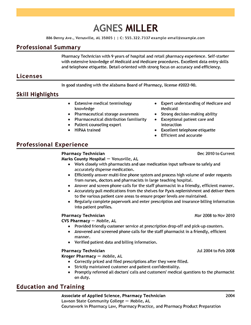 best pharmacy technician resume example from professional resume writing service