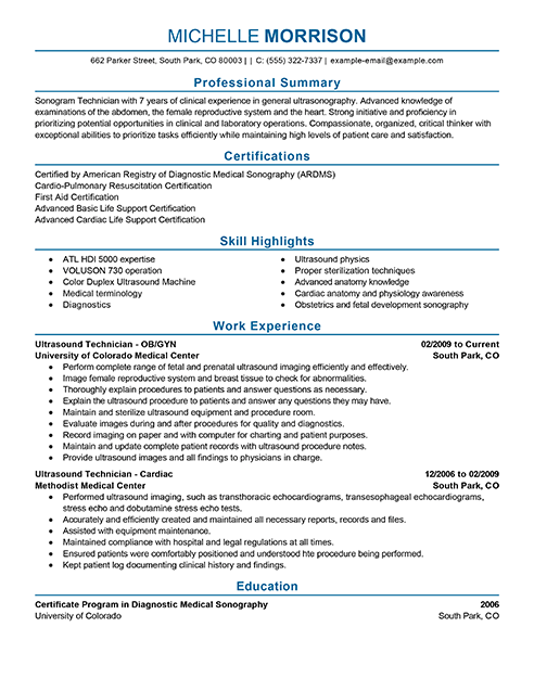 Best Ultrasound Technician Resume Example From