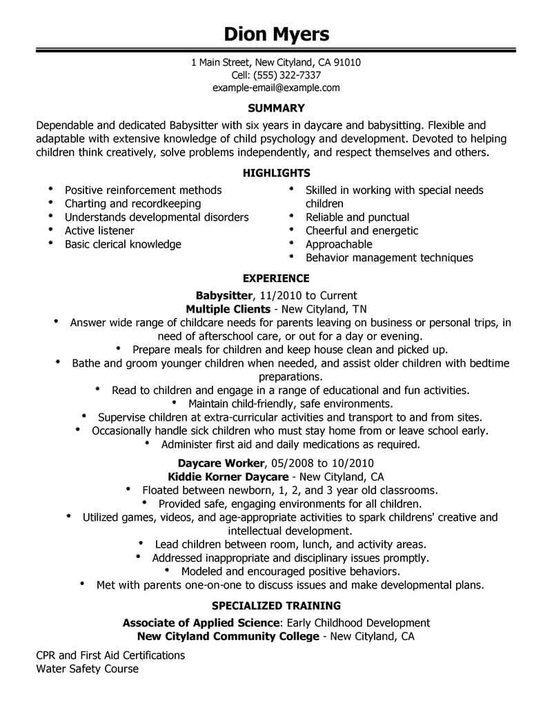 Best Babysitter Resume Example From Professional Resume