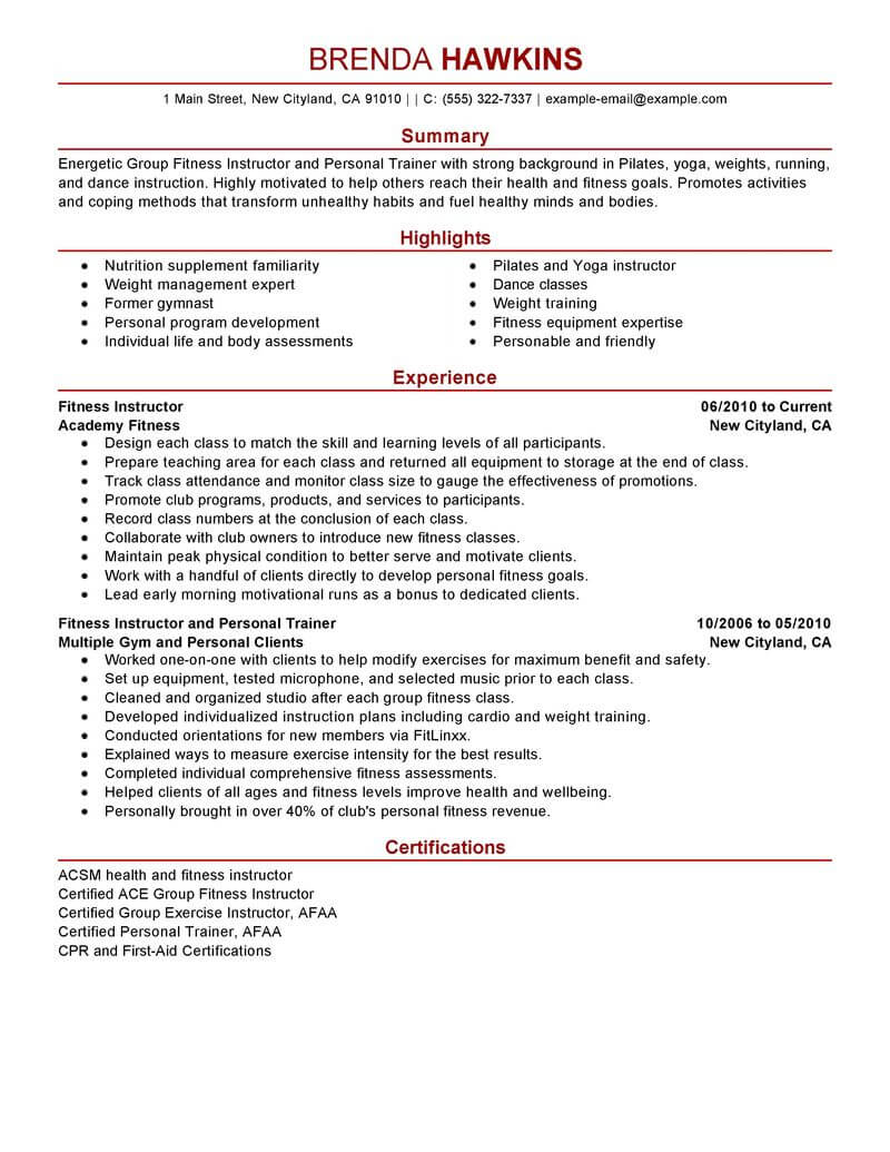 best fitness and personal trainer resume example from
