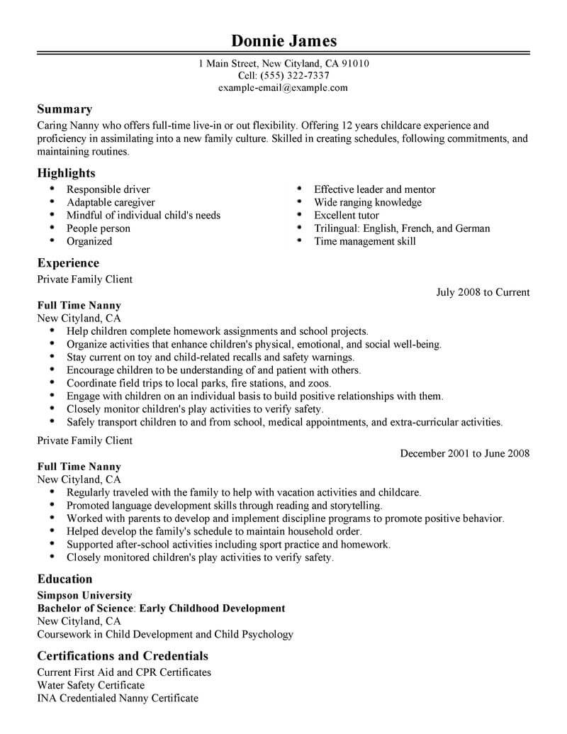 best full time nanny resume example from professional