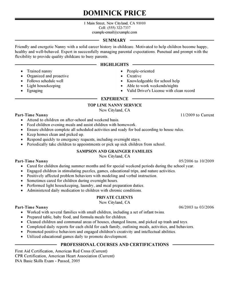 Best Part Time Nanny Resume Example From Professional Resume