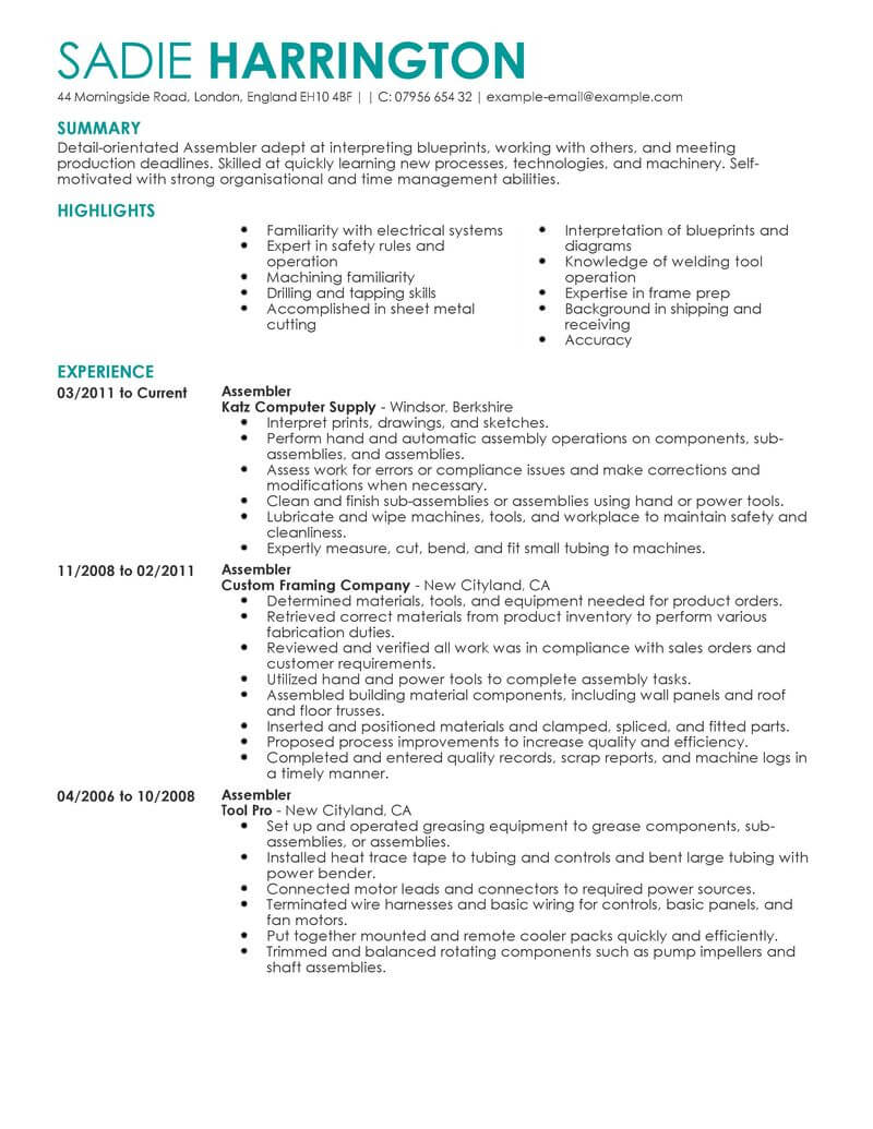 63 outstanding production resume examples  u0026 templates from