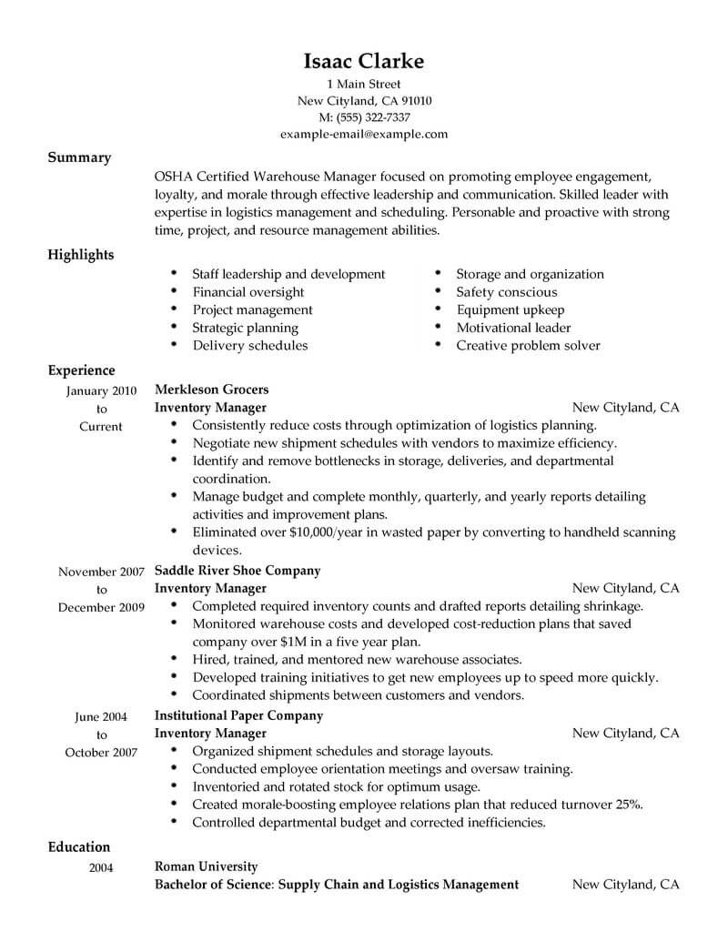 best inventory manager resume example from professional resume