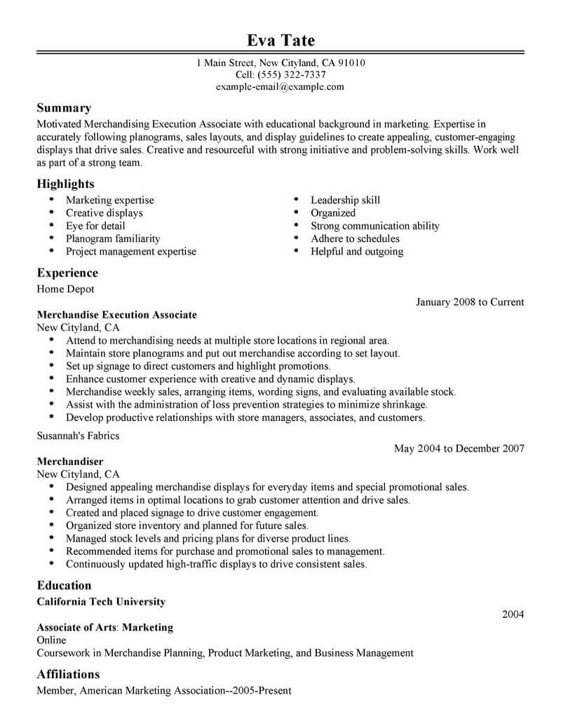 best merchandising execution associate resume example from