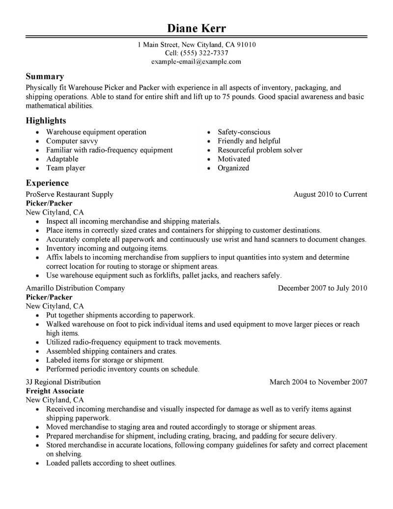 best picker and packer resume example from professional