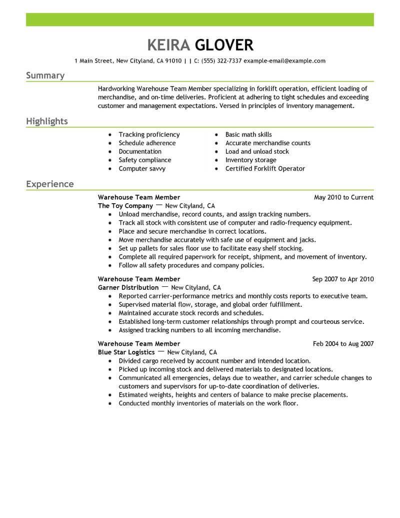 best team members resume example from professional resume