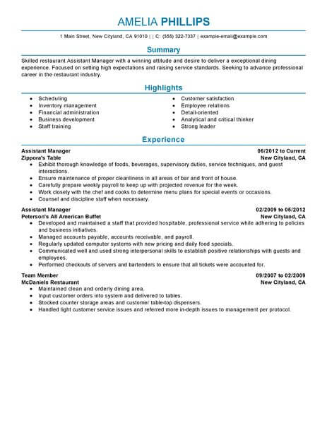 best restaurant assistant manager resume example from
