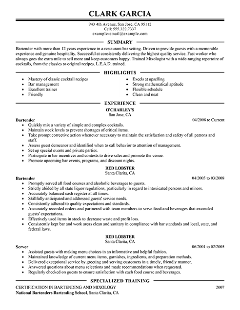 Best Restaurant Bartender Resume Example From Professional Resume