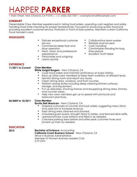 Best Restaurant Crew Member Resume Example From Professional Resume ...