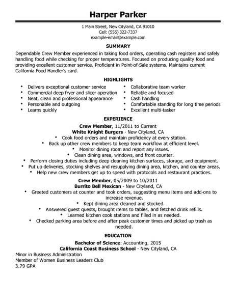 Best Restaurant Crew Member Resume Example From Professional Resume