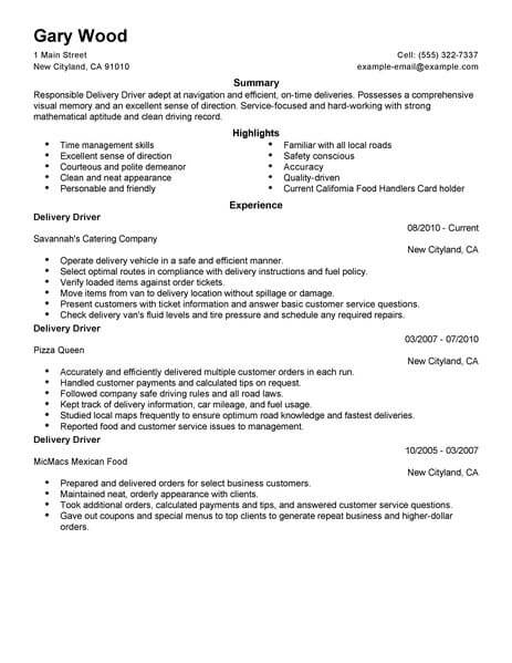 best restaurant  bar delivery driver resume example from
