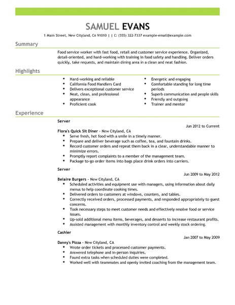 Best Fast Food Server Resume Example From Professional Resume