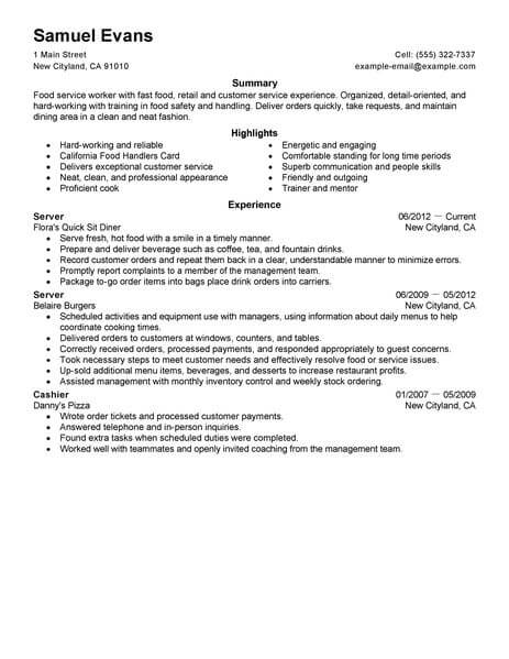 best fast food server resume example from professional