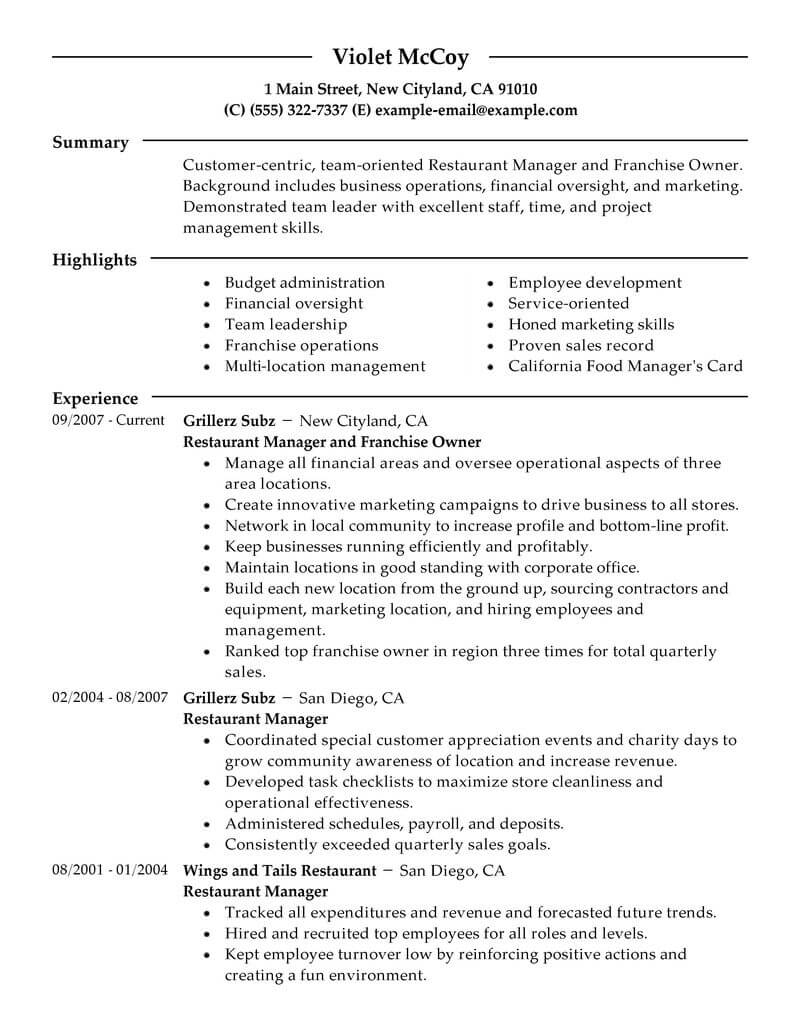 Best Franchise Owner Resume Example From Professional