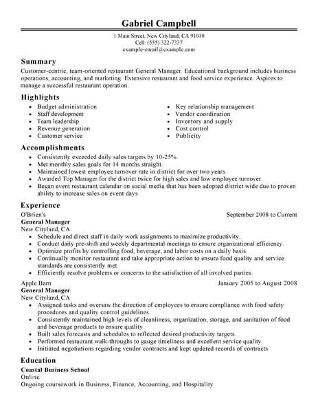 Best Restaurant Bar General Manager Resume Example From