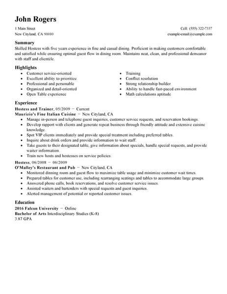 best host hostess resume example from professional resume