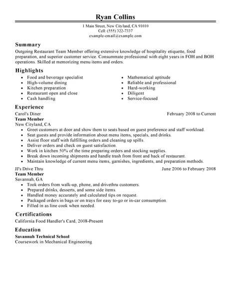 Best Restaurant Team Member Resume Example From Professional ...