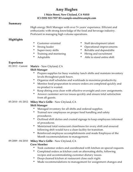 32 Best Restaurant Amp Bar Resume Examples Amp Templates From