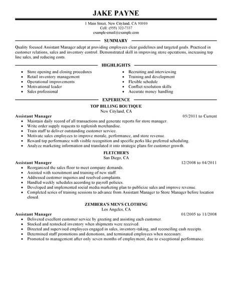 best retail assistant manager resume example from