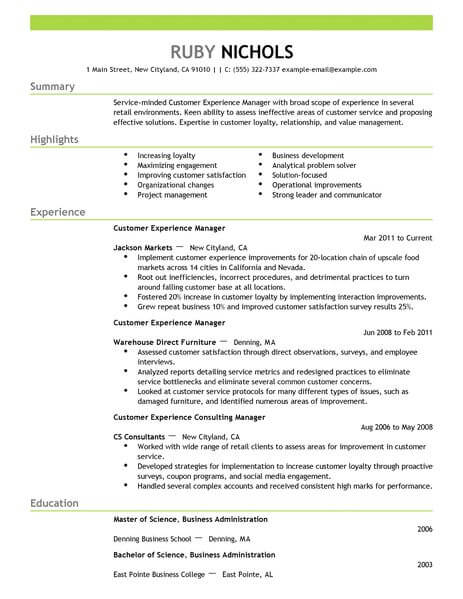Best Customer Experience Manager Resume Example From Professional ...