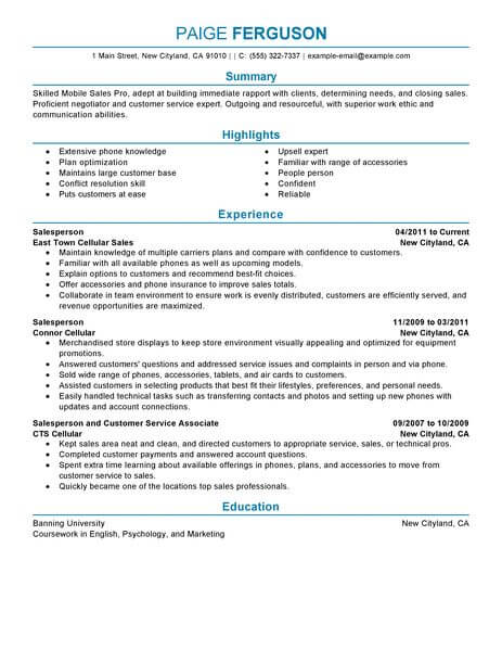 Best Mobile Sales Pro Resume Example From Professional