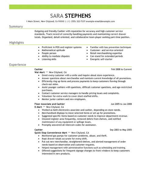 best part time cashiers resume example from professional