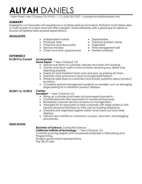 best part time lot associates resume example from professional resume writing service
