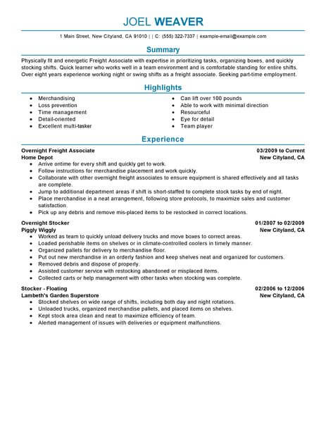 best part time overnight freight associates resume example