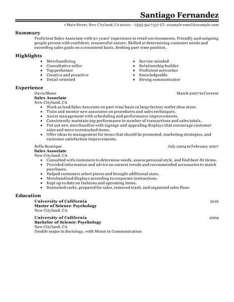 Best Part Time Sales Associates Resume Example From Professional Resume Writing Service