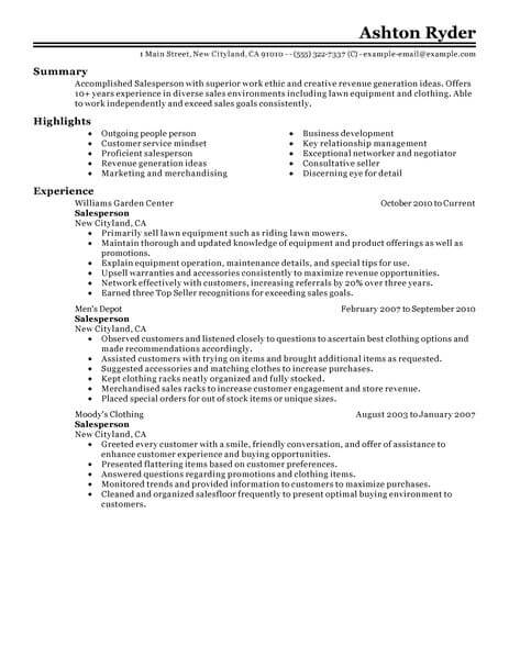 best retail salesperson resume example from professional