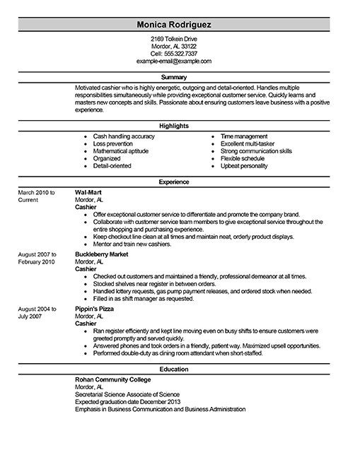 Best Sales Cashier Resume Example From Professional Resume