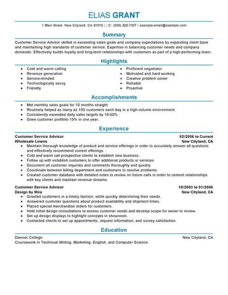 Best Sales Customer Service Advisor Resume Example From
