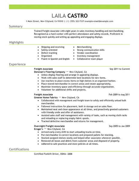 best sales freight associate resume example from professional resume writing service