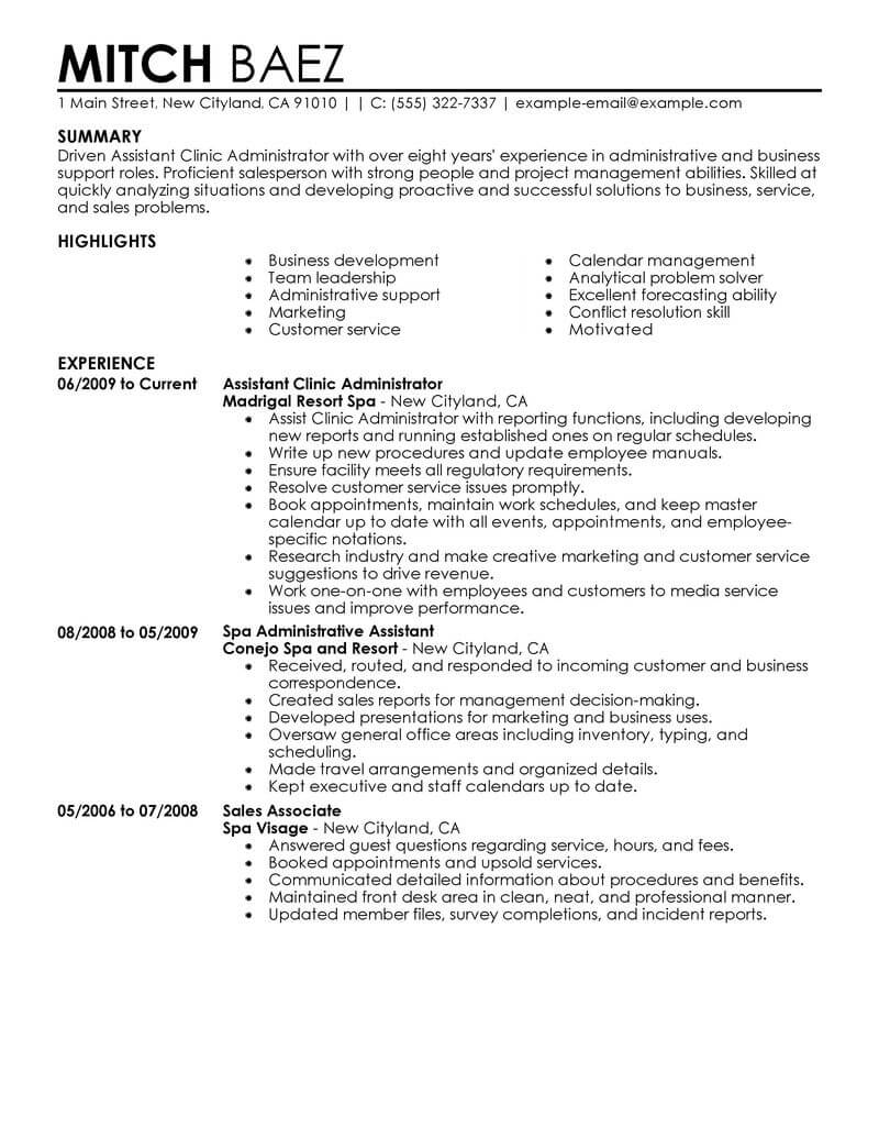 best assistant clinic administrator resume example from