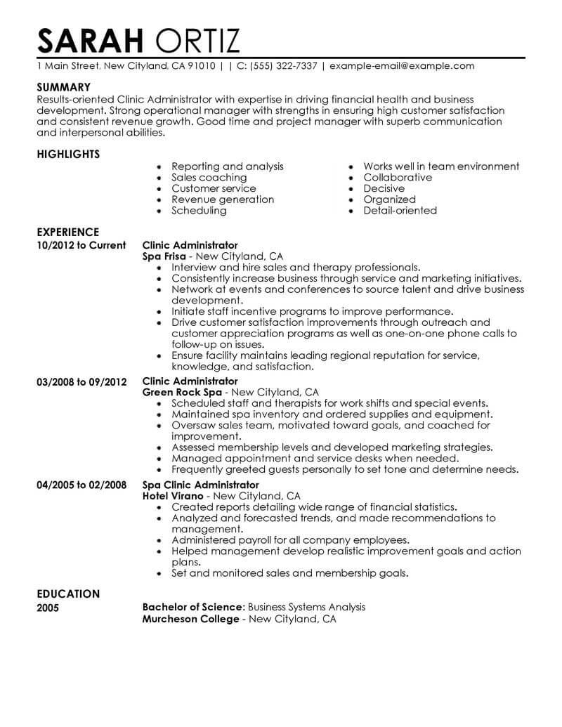 Best Clinic Administrator Resume Example From Professional Resume ...