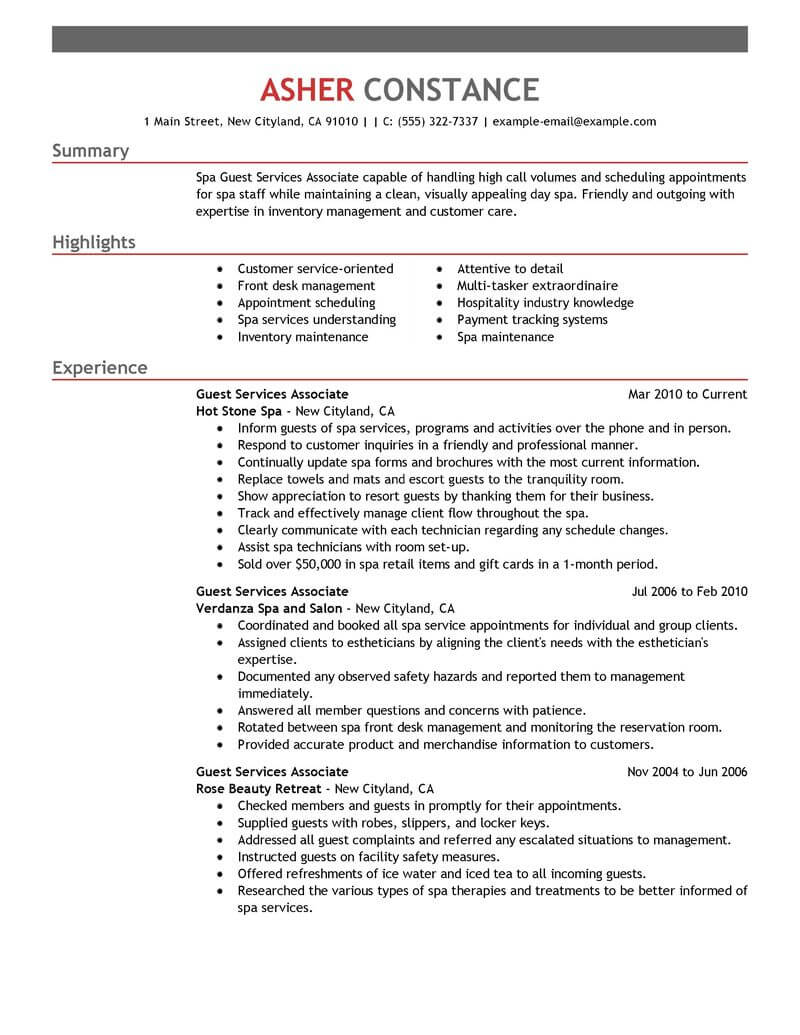 best guest service associate resume example from