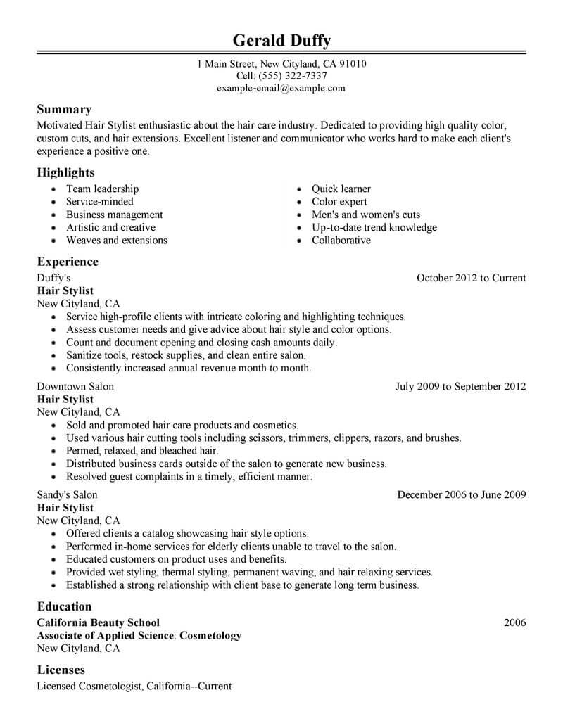Hair Colorist Resume | Best Hair Stylist Resume Example From Professional Resume Writing