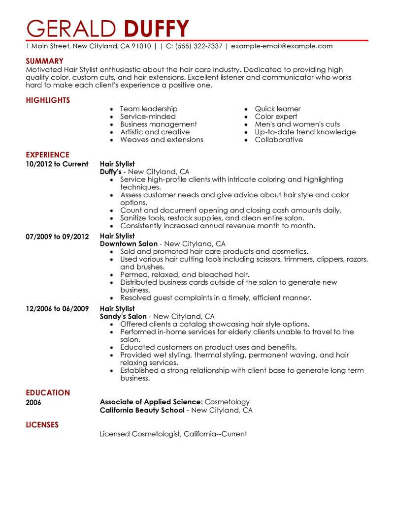 Best Hair Stylist Resume Example From Professional Resume
