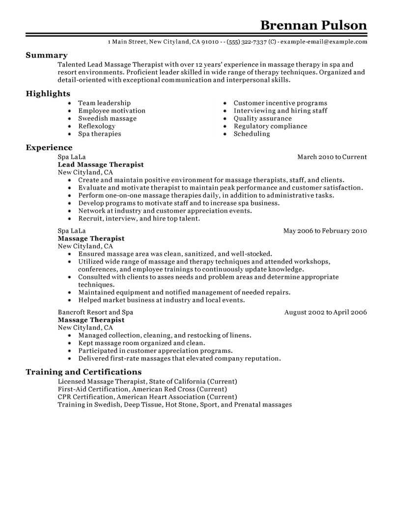 best lead massage therapist resume example from professional resume writing service