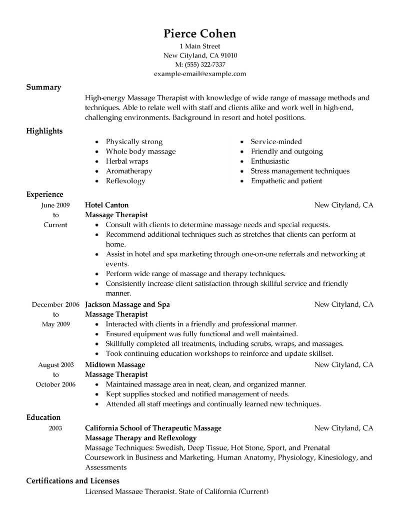 best massage therapist resume example from professional