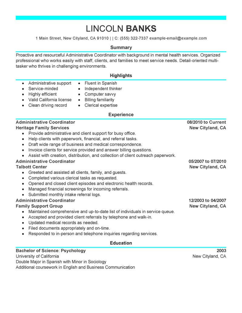 best social services administrative coordinator resume example from professional resume writing