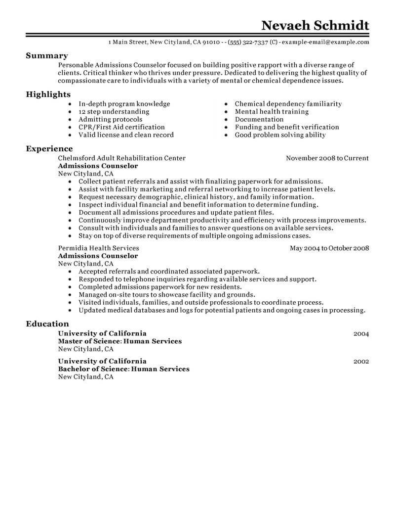 best admissions counselor resume example from professional