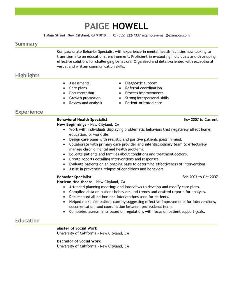 Best Behavior Specialist Resume Example From Professional Resume ...
