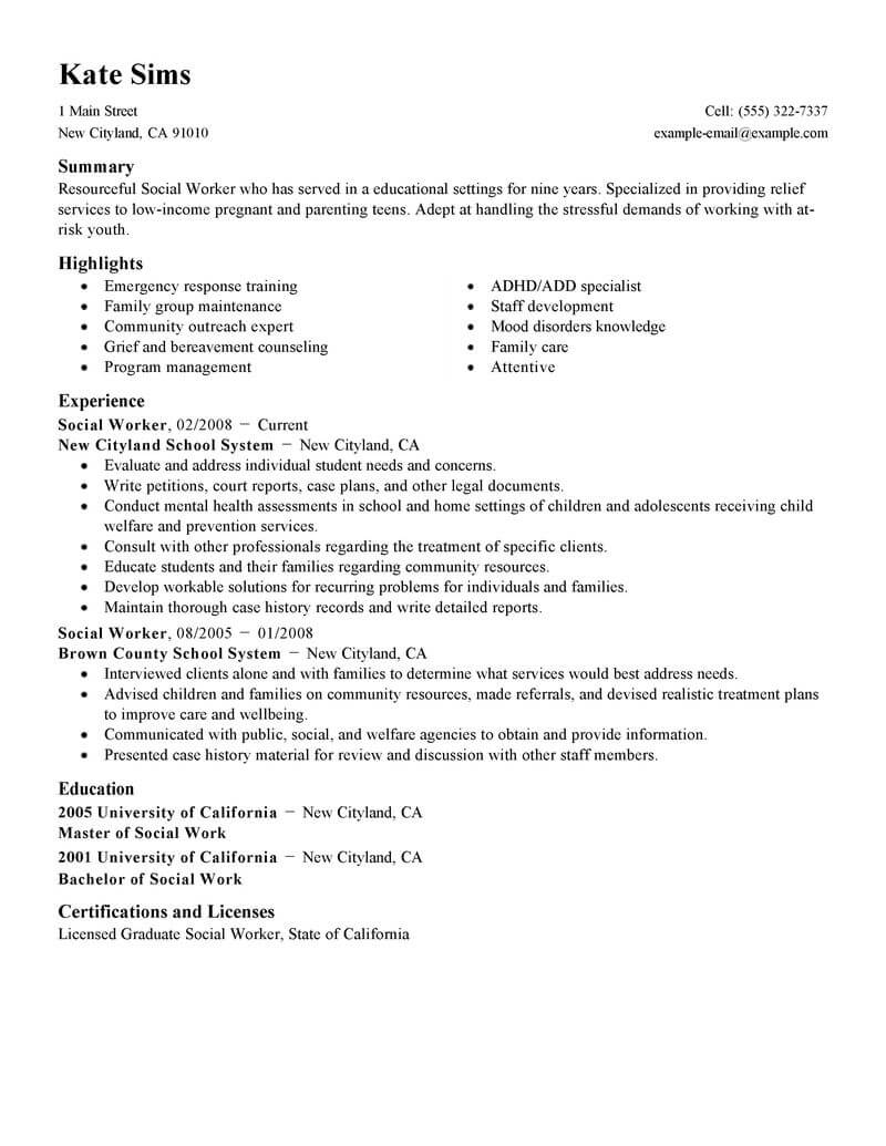 Best Social Worker Resume Example From Professional Resume Writing